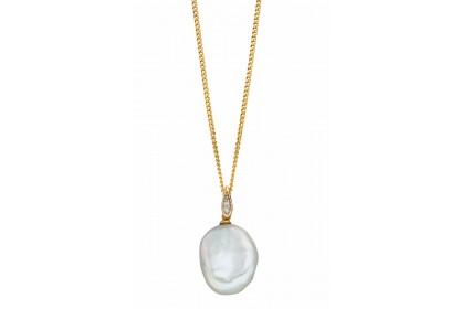 9ct Yellow Gold Keshi Pearl & Diamond Necklace