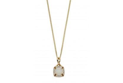 9ct Yellow Gold Opal & Diamond Necklace