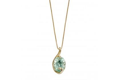9ct Yellow Gold Green Fluorite Swirl Necklace