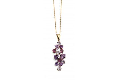9ct Yellow Gold Amethyst Necklace