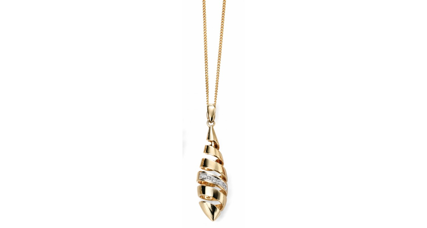 9ct Yellow Gold Diamond Spiral Necklace