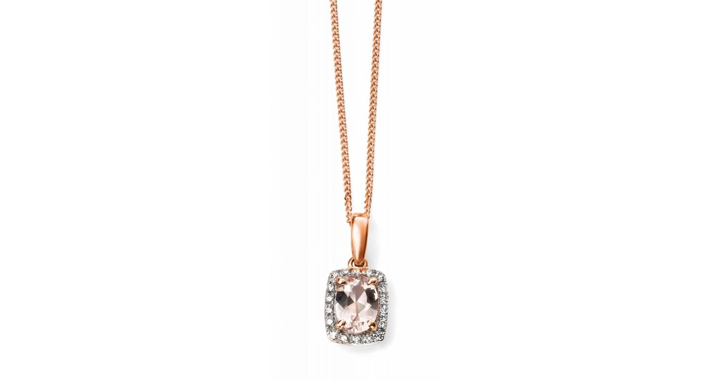 9ct Rose Gold Morganite & Diamond Necklace
