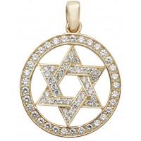 9ct Yellow Gold CZ Star of David Pendant