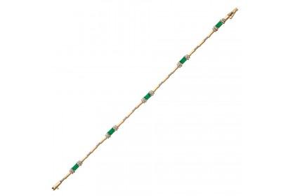 9ct Yellow Gold Emerald & Diamond Bracelet