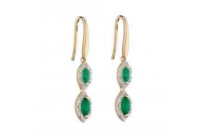 9ct Yellow Gold Emerald & Diamond Drop Earrings