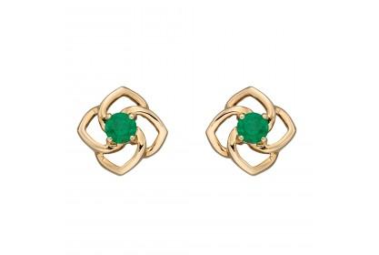 9ct Yellow Gold Emerald Flower Earrings