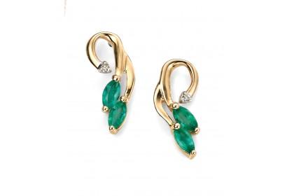 9ct Yellow Gold Emerald & Diamond Vine Earrings