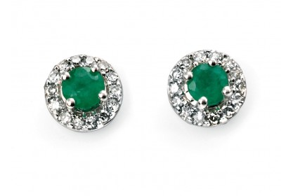 9ct White Gold Emerald & Diamond Earrings