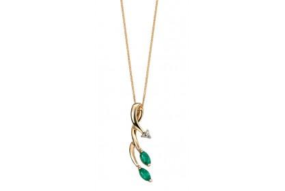 9ct Yellow Gold Emerald & Diamond Vine Necklace
