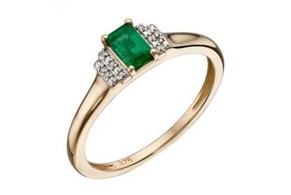 9ct Yellow Gold Emerald & Diamond Deco Ring
