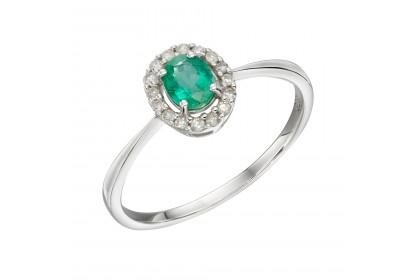 9ct White Gold Emerald & Diamond Cluster Ring