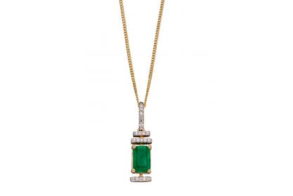 9ct Yellow Gold Emerald & Diamond Deco Necklace