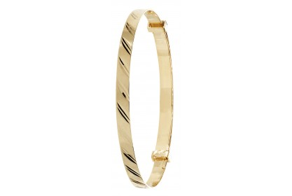 9ct Yellow Gold Babies' 3mm Expandable Diamond Cut Bangle
