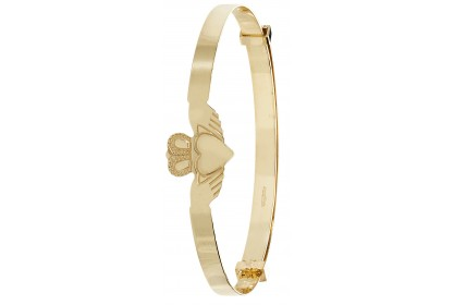 9ct Yellow Gold Babies' 3mm Expandable Claddagh Bangle