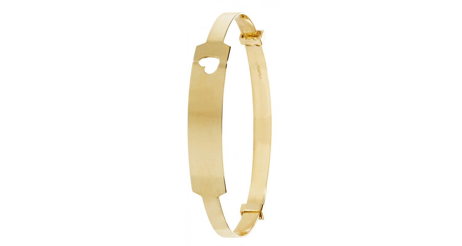 9ct Yellow Gold Babies' 3mm Expandable ID Bangle with Heart