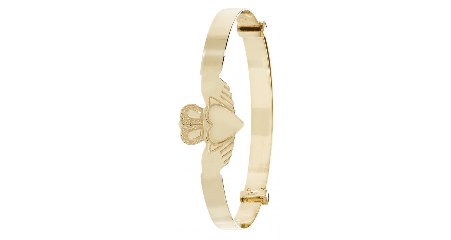 9ct Yellow Gold Babies' 4mm Expandable Claddagh Bangle