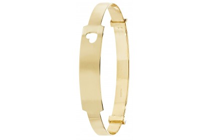 9ct Yellow Gold Babies' 4mm Expandable ID Bangle with Heart