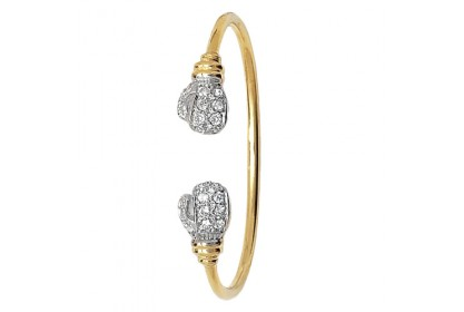 9ct Yellow Gold Babies' CZ Boxing Glove Torque Bangle
