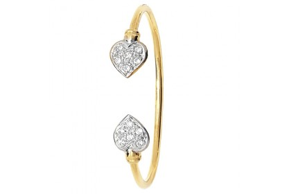 9ct Yellow Gold Babies' CZ Set Heart Bangle
