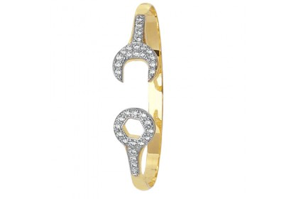9ct Yellow Gold Babies' CZ Set Spanner Bangle