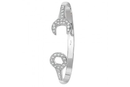 9ct White Gold Babies' CZ Set Spanner Bangle