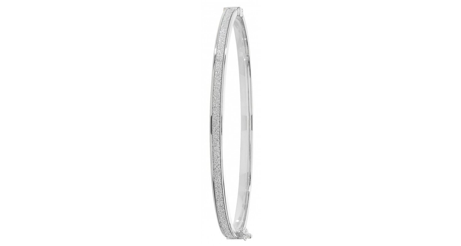 9ct White Gold Stardust Effect Bangle