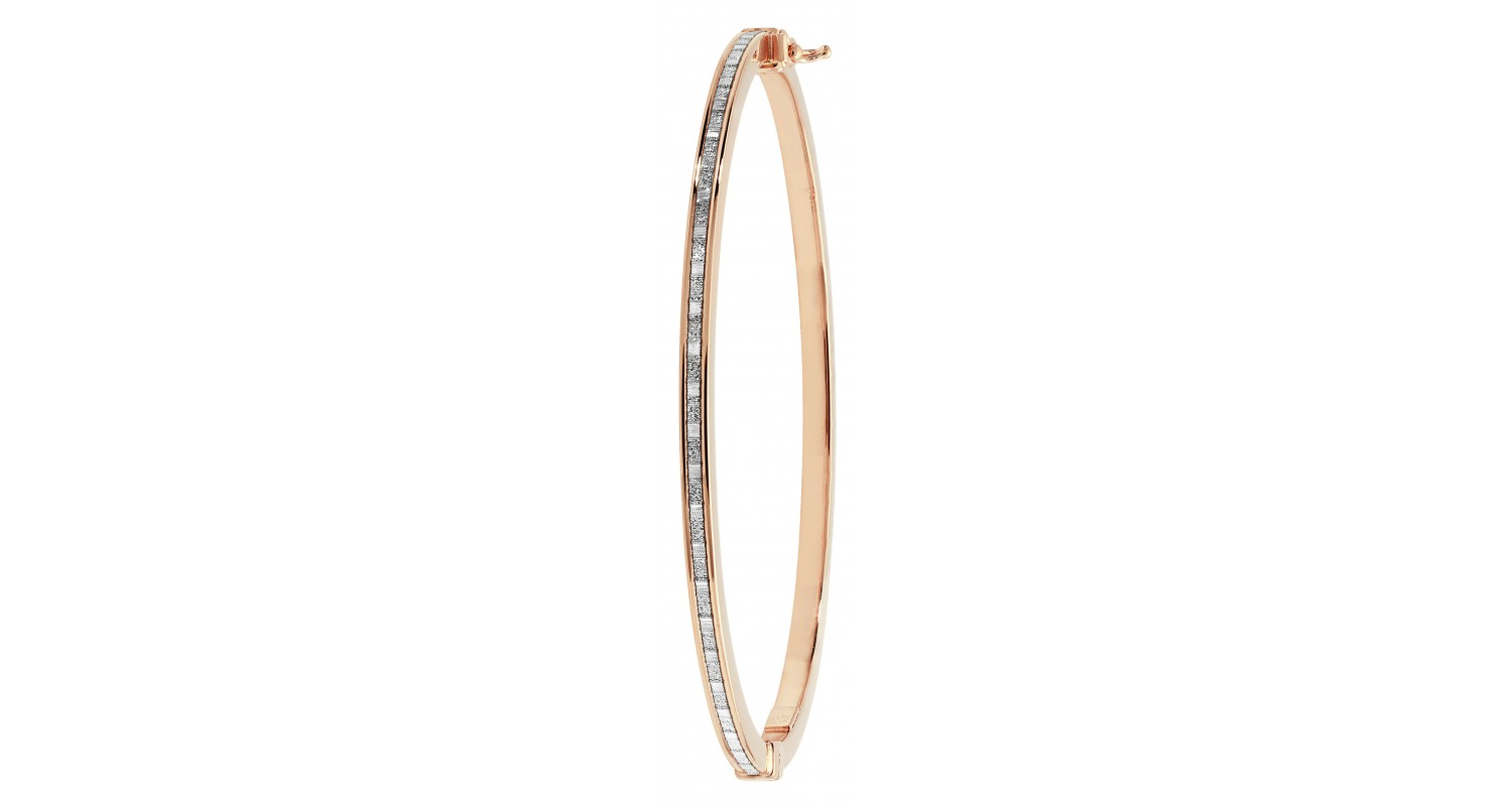 9ct Rose Gold Stardust Effect Bangle