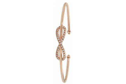 9ct Rose Gold CZ Set Infinity Bow Torque Bangle
