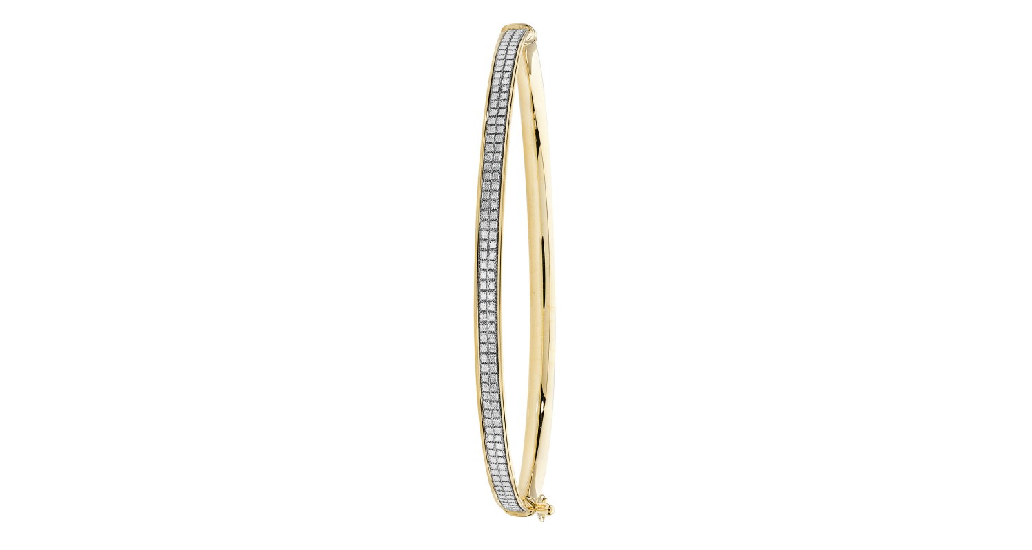 9ct Yellow And White Gold Patterned Hinged Bangle