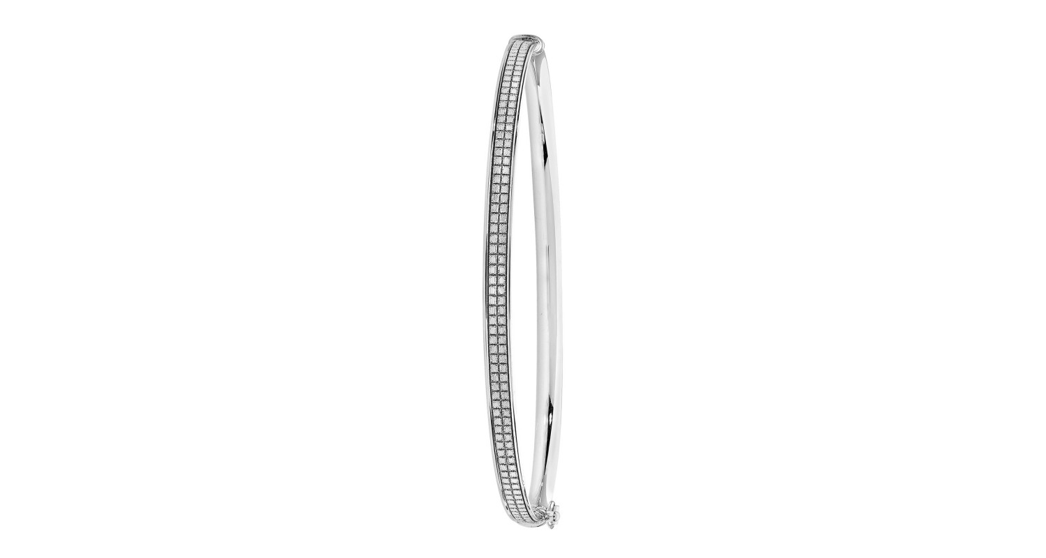 9ct White Gold Patterned Hinged Bangle