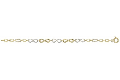 9ct Yellow Gold Ladies CZ Set Infinity Bracelet