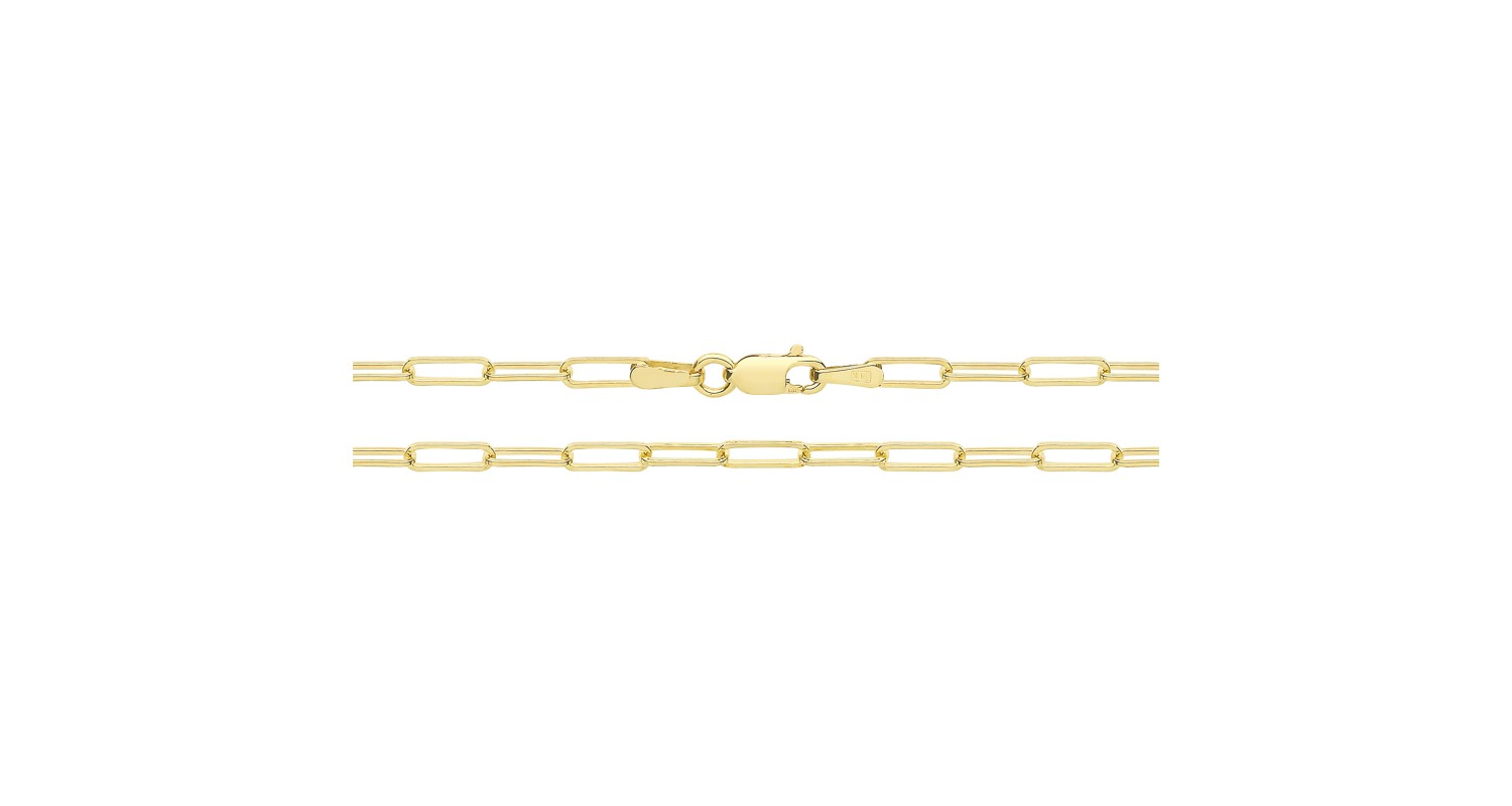 9ct Yellow Gold Paperclip Link Anklet