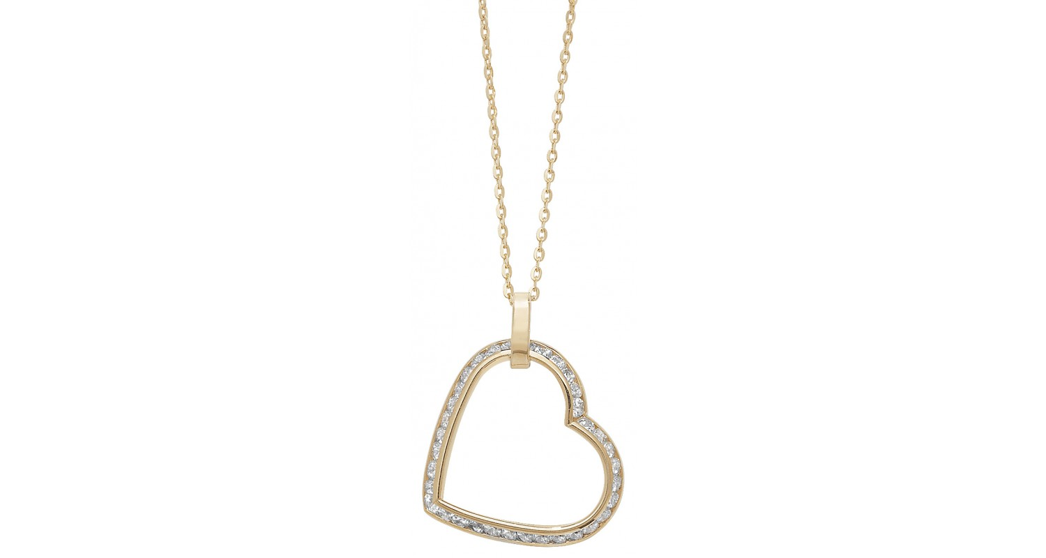 9ct Yellow Gold CZ Heart Necklace