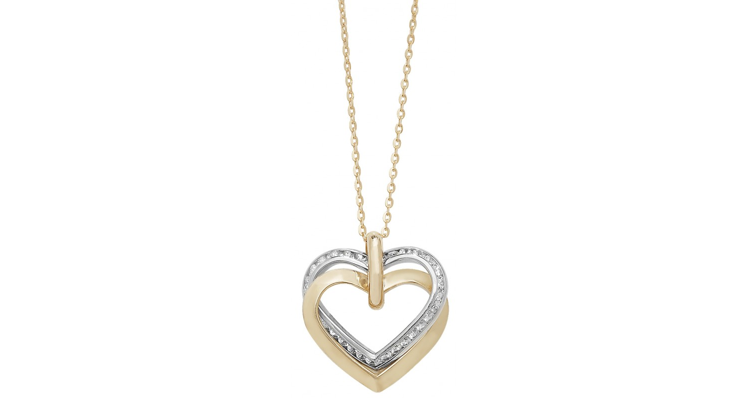 9ct Yellow and White Gold CZ Heart Necklace