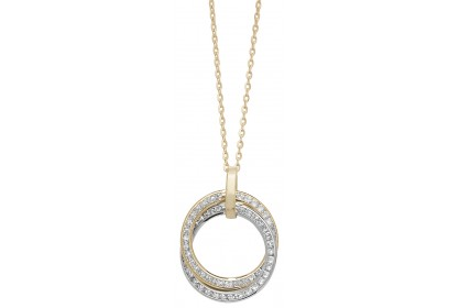 9ct Yellow Gold CZ Set Disc Necklace