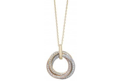 9ct Yellow Gold Three Colour Ring CZ Necklace