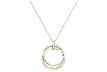 9ct Yellow And White Gold Diamond Cut Necklace