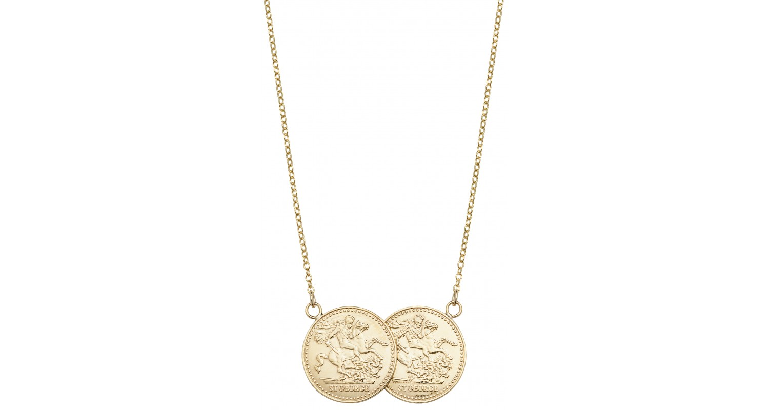 9ct Gold Double Full Sovereign Coin Style Necklace