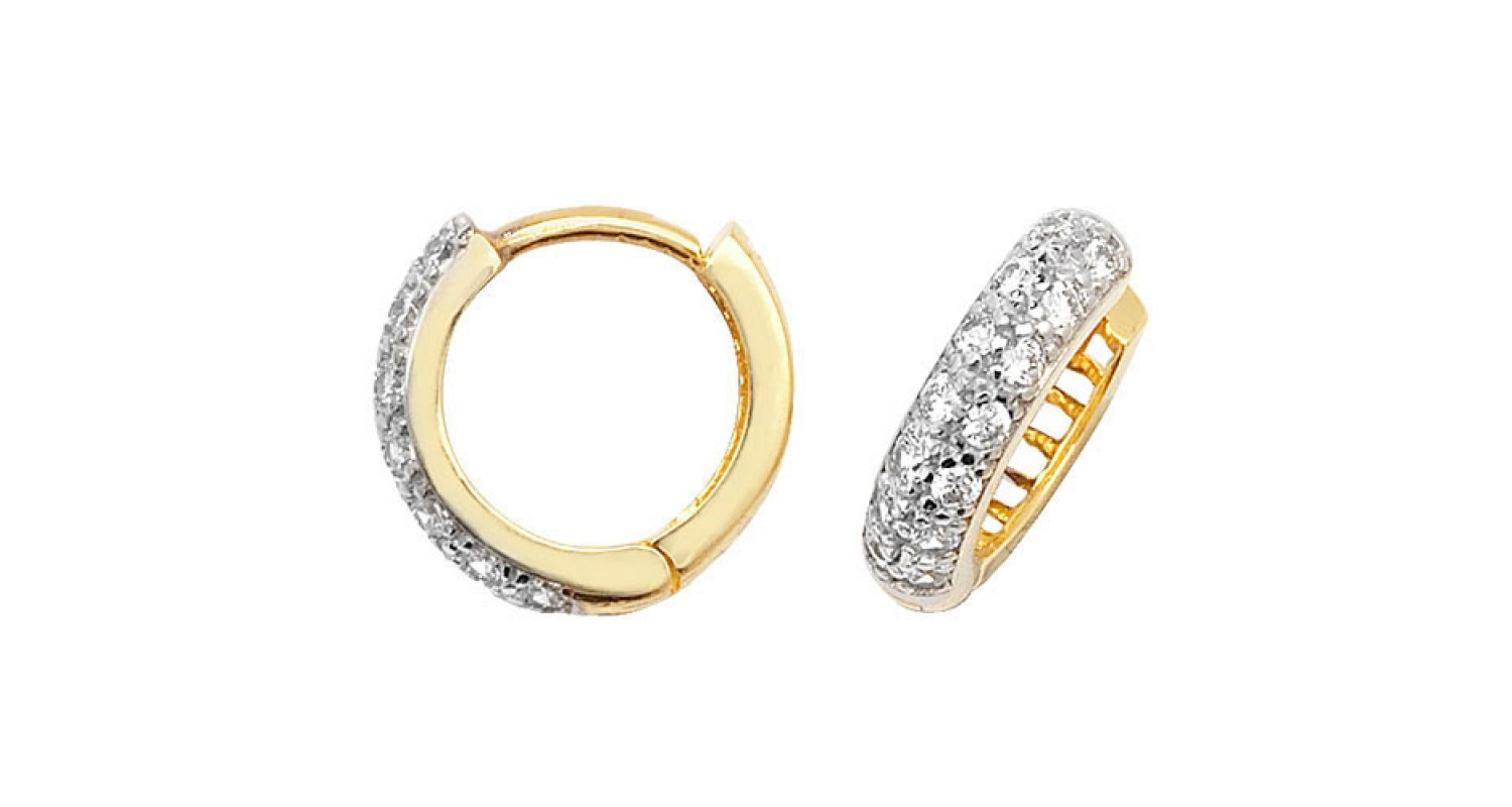 9ct Yellow Gold Cubic Zirconia Hinged Hoops