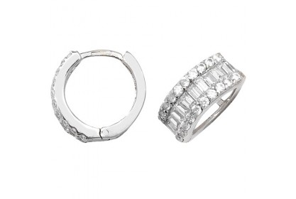 9ct White Gold Cubic Zirconia Hinged Hoops