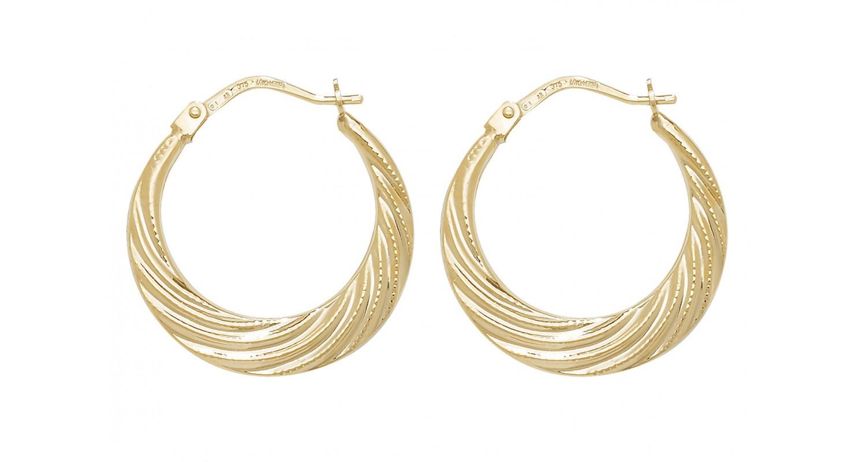 9ct Yellow Gold Creole Hoop Earrings