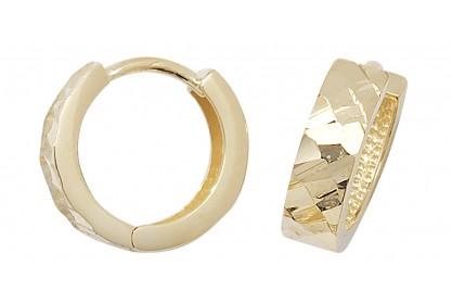 9ct Yellow Gold Diamond Cut Hinged Hoops