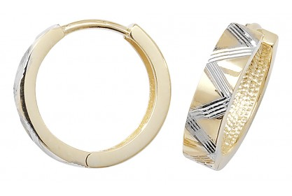 9ct Yellow And White Gold Diamond Cut Hinged Hoops