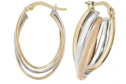 9ct Three Colour Gold Oval Hoop Earrings