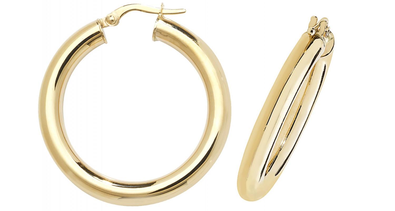 9ct Yellow Gold Hollow Hoop Earrings