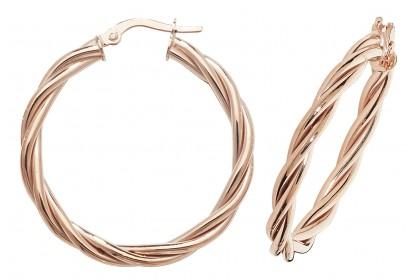 9ct Rose Gold Hollow Twist Hoop Earrings