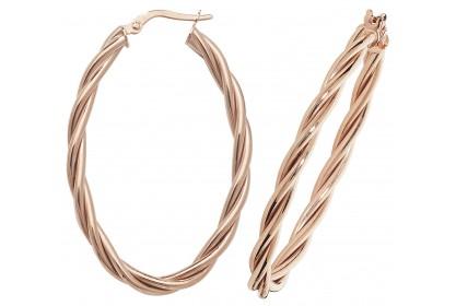 9ct Rose Gold Hollow Oval Hoop Twist Earrings
