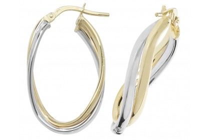 9ct Yellow And White Gold Interlocking Oval Hoops