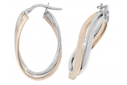 9ct Rose And White Gold Interlocking Oval Hoops