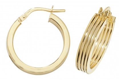 9ct Yellow Gold Diamond Cut Hoop Earrings